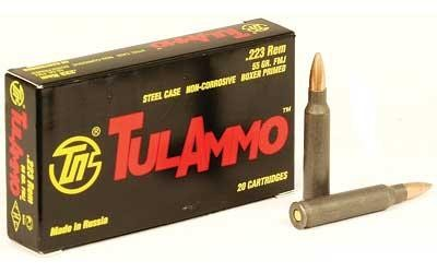 TULA 223 AMMO 55 GRAIN FMJ STEEL CASE, 20 RDS/BOX