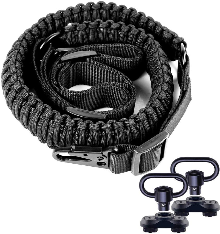 """550 Paracord 2 Point Sling with HK Clips & 2Pack M-Rail Mount with QD Swivel Adjustable Length Rifle Sling Strap 1.25"""" Wide"""
