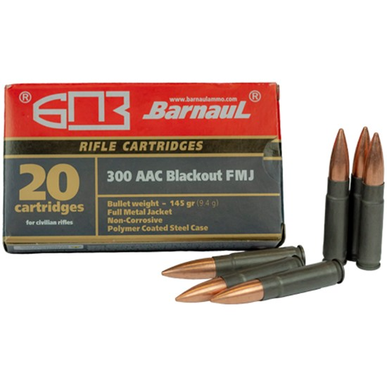 Barnaul 300 Blackout 145 Grain FMJ – Steel Polycoated Case – 500 Rounds ($1.19/PPR)