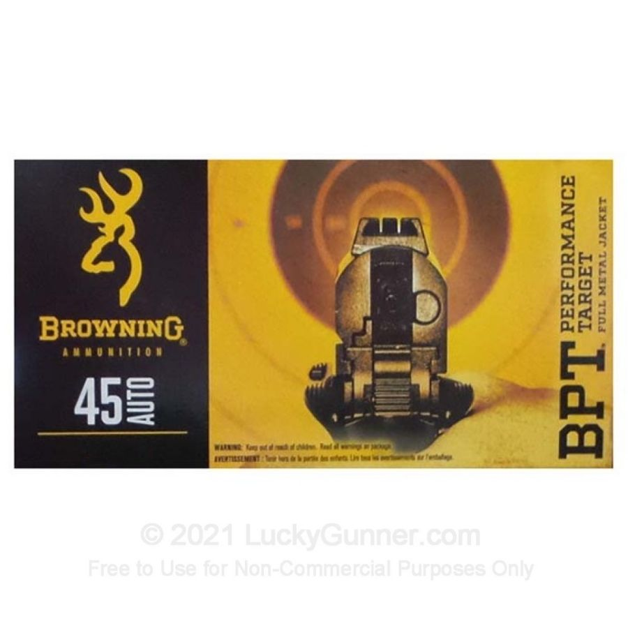 45 ACP - 185 Grain FMJ - Browning BPT Performance Target - 50 Rounds