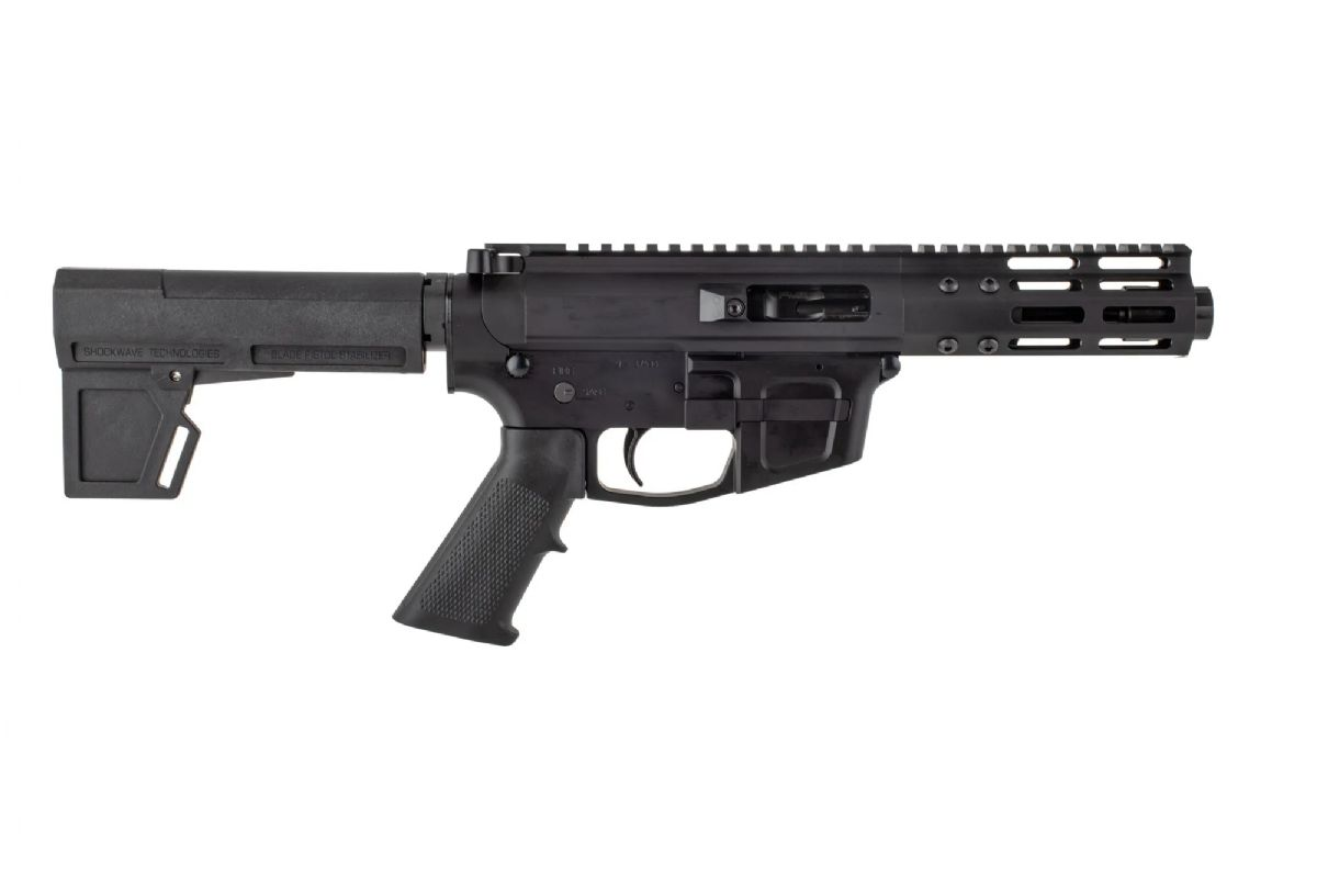 "Foxtrot Mike Products 5"" Ultra Light Barrel 9mm AR Pistol with Glock Style Magwell - Shockwave 2M Brace"