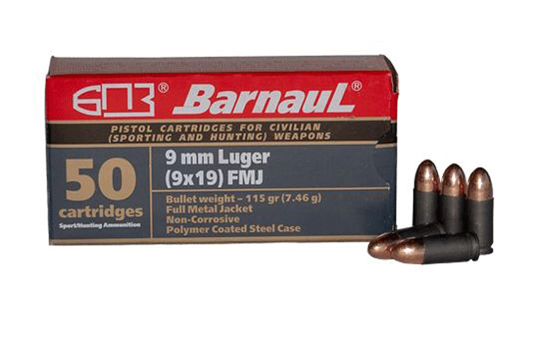 Barnaul – 9mm – 115 Grain – FMJ – Steel Polycoated Case – 500 Rounds