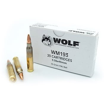 Wolf Ammunition - 5.56x45mm - 55 Grain - WM193 - FMJ - Wolf Performance - 1,000 Rounds