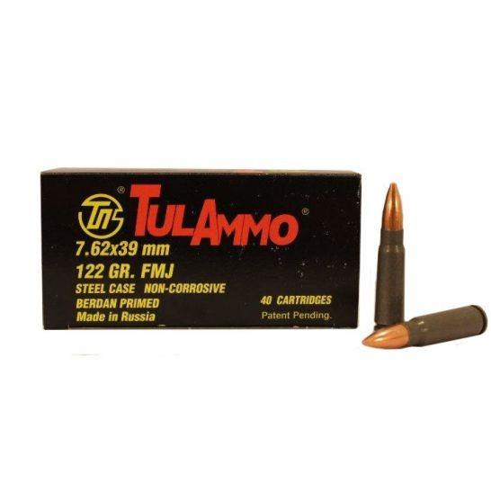 TULA 7.62X39MM FMJ STEEL CASED AMMUNITION 122GR (40RDS) - UL076240