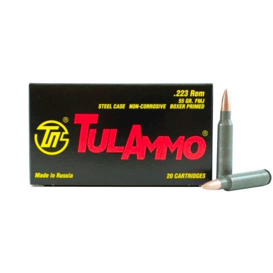 Tula 223 Ammo 55 Grain FMJ Steel Case, 20 rds/box - ($0.75/PPR)