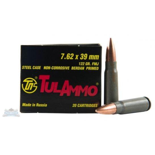 Tula 7.62x39 Ammo 122 Grain FMJ Steel Case 20 rds/box - ($0.50/PPR)